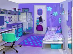 Gallery of fun teen girl bedrooms. See a variety of teen girl bedroom designs & get ideas for themes, furniture, colors and decor. Teen Girl Rooms, Teenage Girl Bedrooms, Teenage Room, Girls Bedroom, Bedroom Decor, Neon Bedroom, Bedroom Themes, Cute Bedroom Ideas, Girl Bedroom Designs