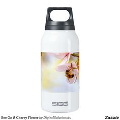 Bee On A Cherry Flower Insulated Water Bottle