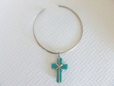 Silver Wire Necklace Wire Wrapped Turquoise by CaseyRoseCollection, $25.00