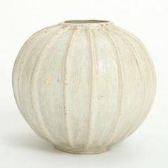 Arne Bang - A Round Fluted Stonewarevase Arne Bang 1901-1983