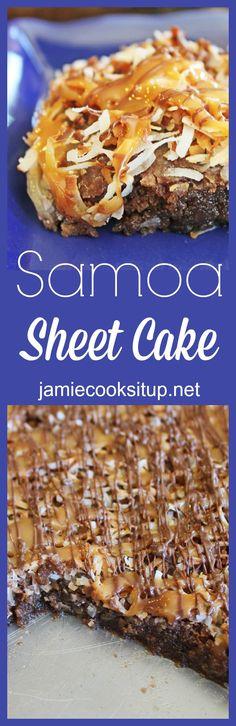 Samoa Sheet Cake from Jamie Cooks It Up