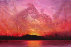 Radha Krishna Art Print featuring the painting Vision Over The Yamuna by Vishnudas Art Krishna Painting, Krishna Art, Lord Krishna, Radhe Krishna, Krishna Images, Love Art, All Art, Framed Prints, Canvas Prints