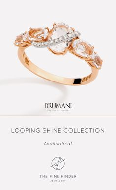 18k rose and white gold ring, hand engraved with diamonds and translucent quartz. The softness of rose gold combined with the sparkle of diamonds and translucent quartz give more life to this stunning ring.