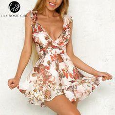 109acdadc79 Lily Rosie Girl Print Floral Summer Playsuit Women Sleeveless V Neck Short  Romper Jumpsuit Boho Beach