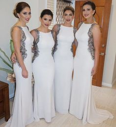 White Mermaid Sexy Long Wedding Bridesmaid Dresses, BG51397 The dress is fully lined, 4 bones in the bodice, chest pad in the bust, lace up back or zipper back are all available. This dress could be c