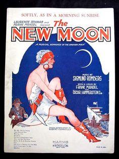 1928 Art Deco FLAPPER Sheet Music The New Moon