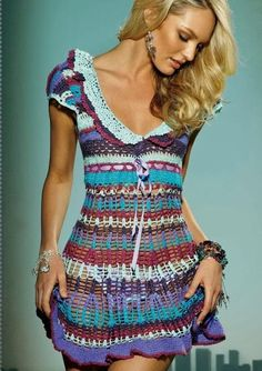 sexy colorful crochet summer dress