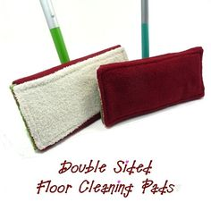 Reusable swiffer pads! Terry cloth on one side for mopping, fleece on the other side for sweeping. Throw it in the wash and use it again and again, plus you can use your own non-toxic cleaning solution. WIN!