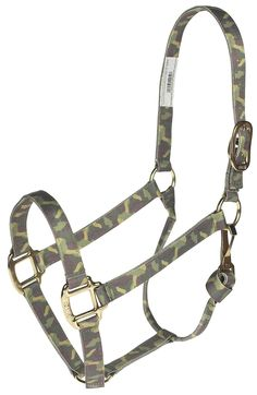 "Camo 1"" premium nylon halter with rolled throat with throat snap for a superb fit. Brass-plated hardware. #horsehalters"