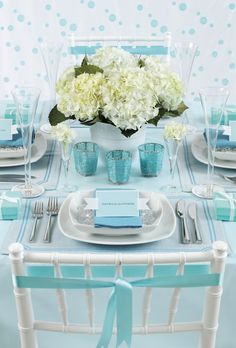 Tiffany blue wedding table setting styled by Mel H.fresh hydrangea & peony flowers are available at Flyboy Naturals Tiffany Theme, Tiffany Party, Tiffany Wedding, Blue Table Settings, Beautiful Table Settings, Place Settings, Wedding Table, Wedding Reception, Wedding Ideas