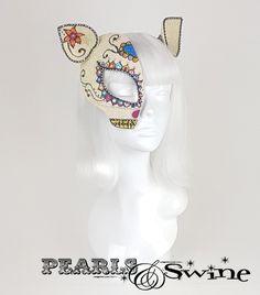 "Day of the Dead Cat Half Mask Fascinator ""Sugar"""