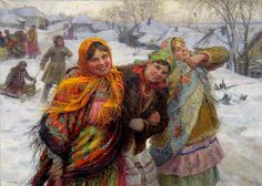 Winter Holiday, Girlfriends (1929) Fedot Vasilievich Sychkov (1870-1958) was a Russian and Soviet painter. He specialized in paintings of jolly peasants.