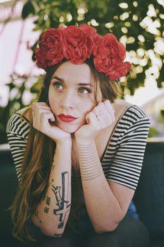 Headband Doration Tissu vintage et fleurs rouges from Albane d'Argence by DaWanda.com