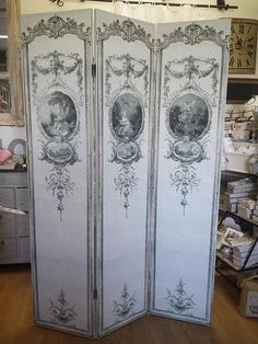 petit paravent ancien louis xv tissu ancien brocante de charme atelier d coupage 2. Black Bedroom Furniture Sets. Home Design Ideas