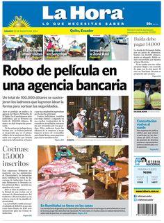 Los temas destacados son: Robo de película en una agencia bancaria, Cocinas 15,000 inscritos y En Rumiñahui se faena en las casas.