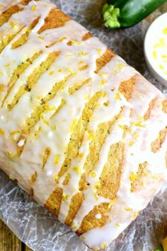 This Lemon Zucchini Bread combines two favorites in one delicious loaf of bread! Topped with a sweet lemony glaze, it's a great way to sneak in extra veggies and the BEST way to wake up! Lemon Zucchini Loaf, Lemon Bread, Zucchini Bread Recipes, Zucchini Bars, Lemon Loaf, Loaf Recipes, Muffin Recipes, Cake Recipes, Chicken Recipes