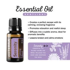 Serenity essential oil has a calming renewing fragrance, it lessens tension and calms emotions. www.hayleyhobson.com