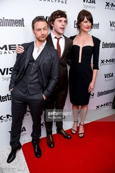 Actors James McAvoy and Evan Peters with actress Carolina Bartczak attend the 'X-Men Apocalypse' New York Screening at Entertainment Weekly on May 24, 2016 in New York City.