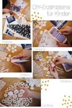 DIY-Erzählsteine für Kinder mit Stickern und Brother P-touch H200 Etiketten | Pinspiration Diy For Kids, Crafts For Kids, Cardboard Toys, Cool Diy, Kindergarten, Blog, Wall Decor, Concept, Invitations
