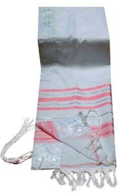 TALITNIA Acrylic Tallit (imitation Wool) Prayer Shawl - PINK & SILVER Stripes - 24L x 72W TALITNIA. $30.00