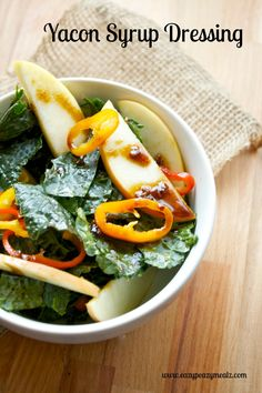 Yacon Syrup Dressing: The perfect salad dressing for those dark, bitter greens like Kale! Made with an alternative sweetener for a healthy dressing option - Eazy Peazy Mealz