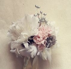 Feather Flower Bouquet with Fabric Flower  by jewelboxballerina