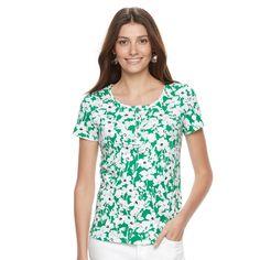 Women's Croft & Barrow® Henley Tee, Size: Medium, Med Green