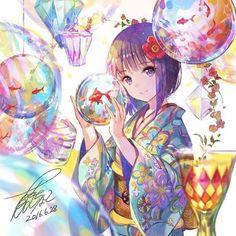 Bubbles fish kimono