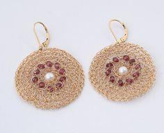 Large Round Earrings, Crochet Gold-filled Garnet #jewelry #earrings @EtsyMktgTool http://etsy.me/2i7IYSZ