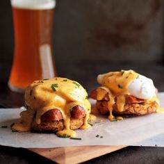 Spice up your breakfast with this easy homemade Cajun Eggs Benedict! A cajun-inspired brunch recipe with beer biscuits, andouille, and homemade hollandaise. Eggs Benedict Casserole, Easy Eggs Benedict, Eggs Benedict Recipe, Cajun Recipes, Egg Recipes, Brunch Recipes, Cooking Recipes, Healthy Recipes, Breakfast Dishes