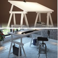 """White Wood 57""""x28"""" Computer Desk , Work Station , Drawing Table with 2 Height and Angle Adjustable Solid Wood Trestle Legs with Shelf"""