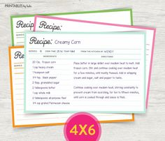 Printable 4x6 Recipe Cards - Instant Download Recipe Card – 4X6 Colorful Recipe Card - Recipe Card Printable - 4x6 Recipe Cards Template by cardsbybubi on Etsy