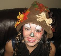 I like the face paint for this scarecrow for Farm Day. May use Tulle tied around hair ties for around my wrist and feet, or tan yarn.