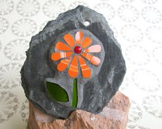 Orange Daisy Mosaic Wall Art  Recycled China by RecycleMeMosaics
