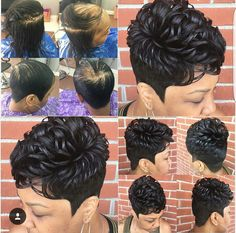 Getting this thrus Short Hair Mohawk, Short Relaxed Hairstyles, Short Sassy Haircuts, Cute Hairstyles For Short Hair, Girl Short Hair, Short Hair Cuts, Curly Hair Styles, 27 Piece Hairstyles, Black Hair Updo Hairstyles