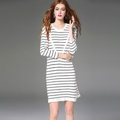 autumn dress bodycon sexy vestido women moda mujer striped dress manga longa elbise women dresses vestido branco jurken white * You can find out more details at the link of the image.
