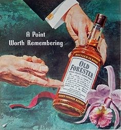 Old Forester Whiskey  50 s Print ad  Color Illustration  orchid Brown Forman Kentucky   Print Art