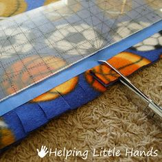 "Pieces by Polly: Double Layered No-Sew ""Braided"" Fleece Blanket Tutorial -- Use painters tape and quilt ruler to guide cutting of fringe. Braided Fleece Blanket Tutorial, No Sew Fleece Blanket, No Sew Blankets, Fleece Throw, Throw Blankets, Blankets For Winter, No Sew Pillow Covers, Yellow Quilts, Quilting Rulers"