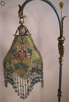 Love this vintage lamp! ===== lamp by Victorian Lamps, Antique Lamps, Victorian Lamp Shades, Art Deco Lighting, Vintage Lighting, Art Nouveau, Objets Antiques, Decoration Shabby, Chandelier Lamp