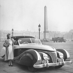 """""""Custom-bodied French Talbot, poised elegantly in Place de la Concorde, has sweeping, chrome-accented lines, was priced at $21,000 at the Paris Auto Show."""" - LIFE Magazine, 1947 (Tony Linck—The LIFE Picture Collection/Getty Images)"""
