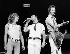 Singer Roger Daltrey, drummer Keith Moon and guitarist Pete Townshen of the rock and roll band 'The Who' perform onstage during the 'Quadrophenia' Tour in 1974.