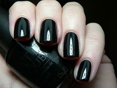 "Just bought OPI's ""Black Onyx"" ...never tried pitch black nail polish before!"