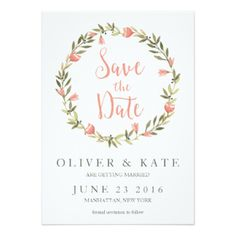 Pink Watercolor Floral Wreath Save the Date Card