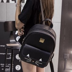 05b0e0e359e0 Shoulder bag female Korean version of the new college wind girls backpack  pu leather bag middle