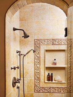 Create a sophisticated look by using limestone tiles. More shower design ideas: http://www.bhg.com/bathroom/shower-bath/design-ideas/?socsrc=bhgpin070313limestone=7