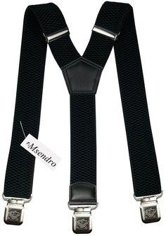 Bretelles Y entièrement réglable pour Homme / Femme - 4 cm avec 3 clips élastique Solide Casual Pantalon Jeans Différentes couleurs: Noir, M...
