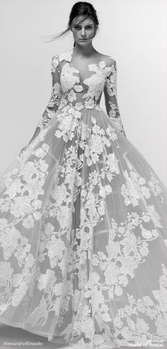 alessandra rinaudo wedding dresses a line with long sleeves nude floral 2019 Ugly Wedding Dress, Princess Wedding Dresses, Best Wedding Dresses, Bridal Dresses, Wedding Gowns, Wedding Reception, Dresses Elegant, Beautiful Dresses, Sweet Dress
