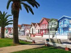 Greetings Card-Traditional houses of Costa Nova. Portugal-Photo Greetings Card made in the USA Portugal Vacation, Hotels Portugal, Places In Portugal, Visit Portugal, Portugal Travel, Algarve, Costa, Travel Around The World, Around The Worlds