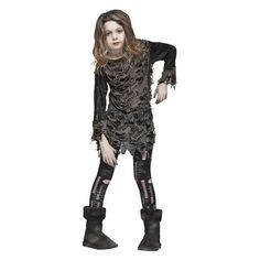 Girls' Living Dead Costume Medium (8-10), Girl's, Size: M(8-10), Black