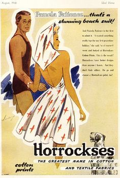 That's a stunning beach suit! vintage fashion, summer 1940s vintage fashion day dress halter sundress illustration casual